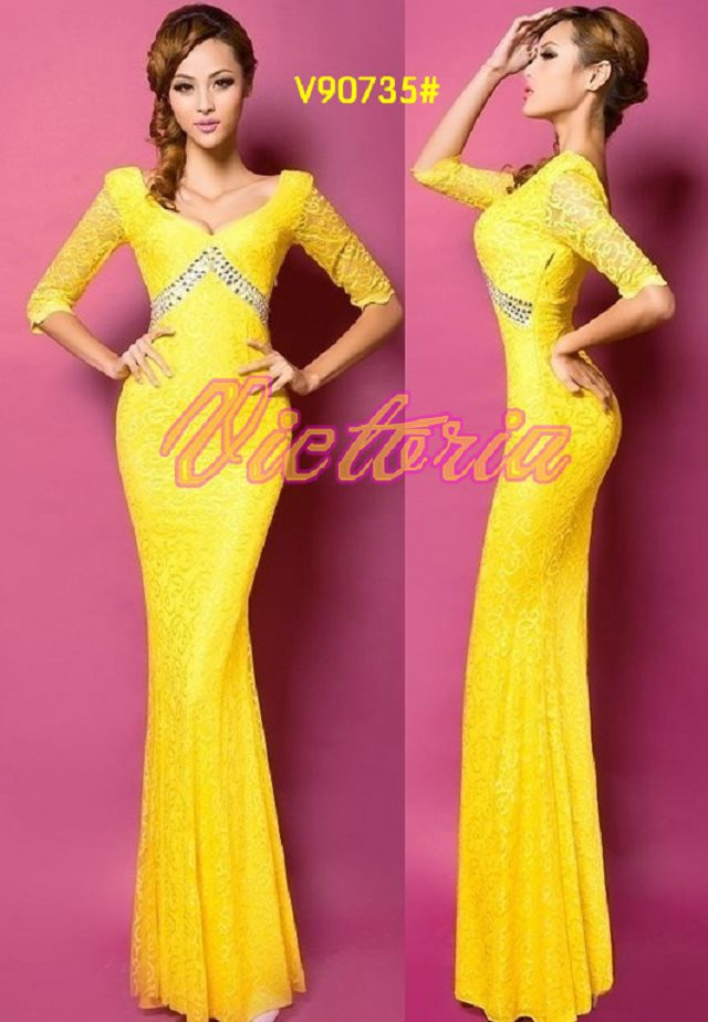 v-образным вырезом платье с поясом длинное вечернее платье халат de soiree Abiti да сывороток vestido de festa longo com H0296 - Цвет: Yellow
