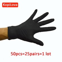 Security Protection - Workplace Safety Supplies - Disposable Black Gloves In Nitrile 100 Pcs/lot Anti-slip Antistatic Household Gloves For Finger Protection Free Shipping