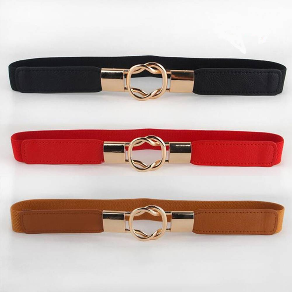 Free Shipping Fashion Women's Belt Elastic Waistband Gold Circle Buckle Small Belts Red Thin Cummerbund Woman Belt Strap Brown