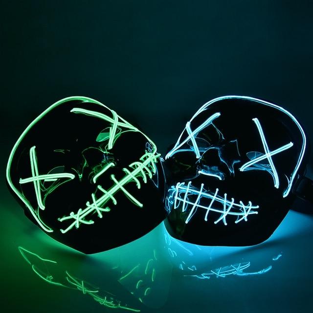 Halloween LED Mask Purge Masks Election Mascara Costume DJ Party Light Up Masks Glow In Dark 2018 Movie Cosplay Payday Mask