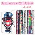 Tab 2 case cubierta de cuero para lenovo tab a10 30 impresión colorida 2 a10-30 x30f x30l tablet 10.1 pulgadas imán case tb2-x30l x30 + film