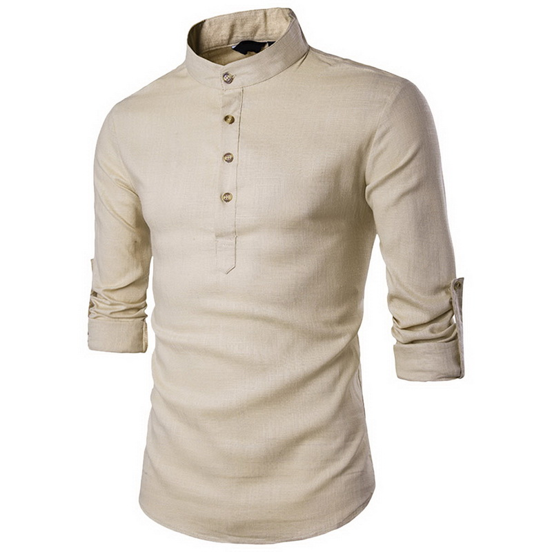 Laamei Men Casual Shirt Cotton Linen Blended Mandarin Collar Breathable Comfy Traditional Chinese Style Long Sleeve Shirts