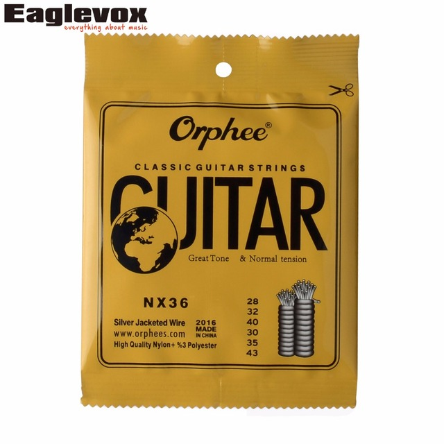 """Sliver Jacketed Hard Tension Classic Guitar Strings 028/043"""" High Quality Nylon Orphee NX36"""