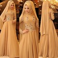 2017 Vestido de Baile Amarelo Longo Hijab Muçulmano Roupas as Mulheres Se Vestem Fotos Apliques Vestidos de Noite Turcos Marroquino