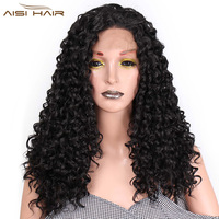 I's a wig Synthetic Front Lace Wigs Afro Kinky Curly Wig 16 22 inch Natural Black Hair Braided Hairs for African American Women