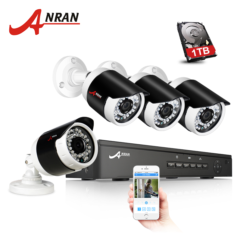 ANRAN 2MP IP Camera 4CH Real POE NVR CCTV System Night Vision Video P2P Home Security Surveillance Kit Outdoor waterproof Camera