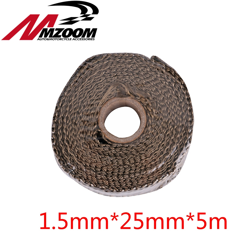 Titanium CAR MOTORCYCLE Incombustible Turbo MANIFOLD HEAT EXHAUST THERMAL WRAP TAPE & STAINLESS TIES 1.5mm*25mm*5m