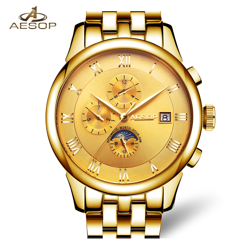Lunry AESOP GOLD watch men Moon Phase waterproof date stainless steel Automatic Mechanical watch relogio masculine luxury moon phase watch men sapphire glass stainless steel waterproof automatic machine date watch relogio masculine