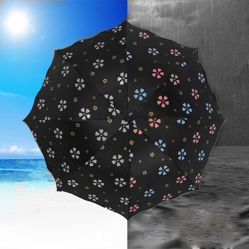 fleur de mode changement de couleur magique parapluie pliant coupe vent parapluie anti uv soleil - Parapluie Color