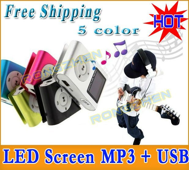 HOT MINI Cheap Clip LED screen MP3 Player + USB  mp3 For Best Gift  FACTORY DIRECT 5 Colors Free Shipping