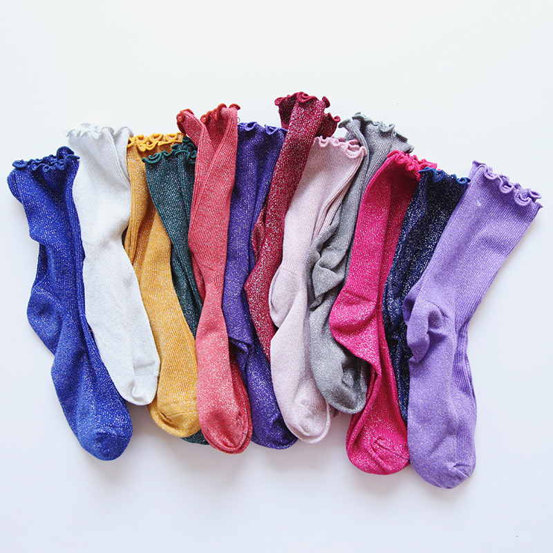 Colored Ruffle Shiny Short Women   Sock   Cute Funny Short   Socks   Hipster Cotton Shiny   Socks   Female Striped Funny Japanese   Socks
