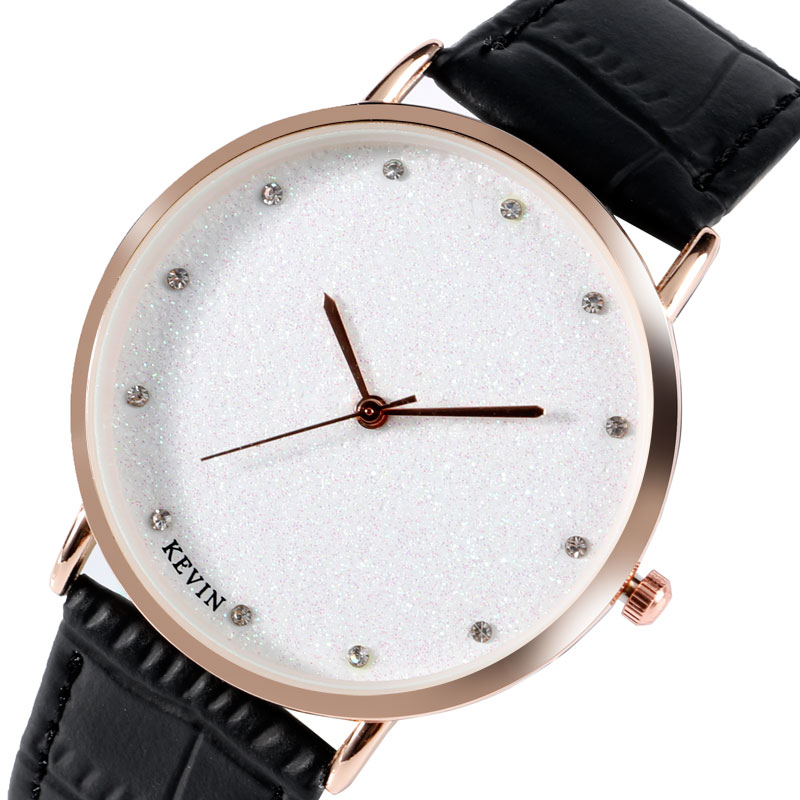 KEVIN Women Watches Simple Creative Bling Bling Dial Quartz Wrist Watch Rose Gold Case Wristwatch Ladies Leather Clock Gift binger watches women fashion quartz watch clock woman rose gold ultra thin case nylon watchband casual ladies quartz watch gift