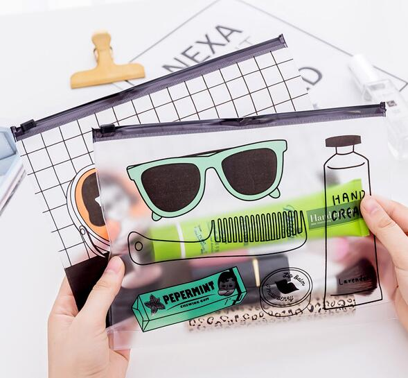 A5 Transparent Pencil Case Simple PVC Zipper Bag File Holder For Girl Boys Students 17*23cm