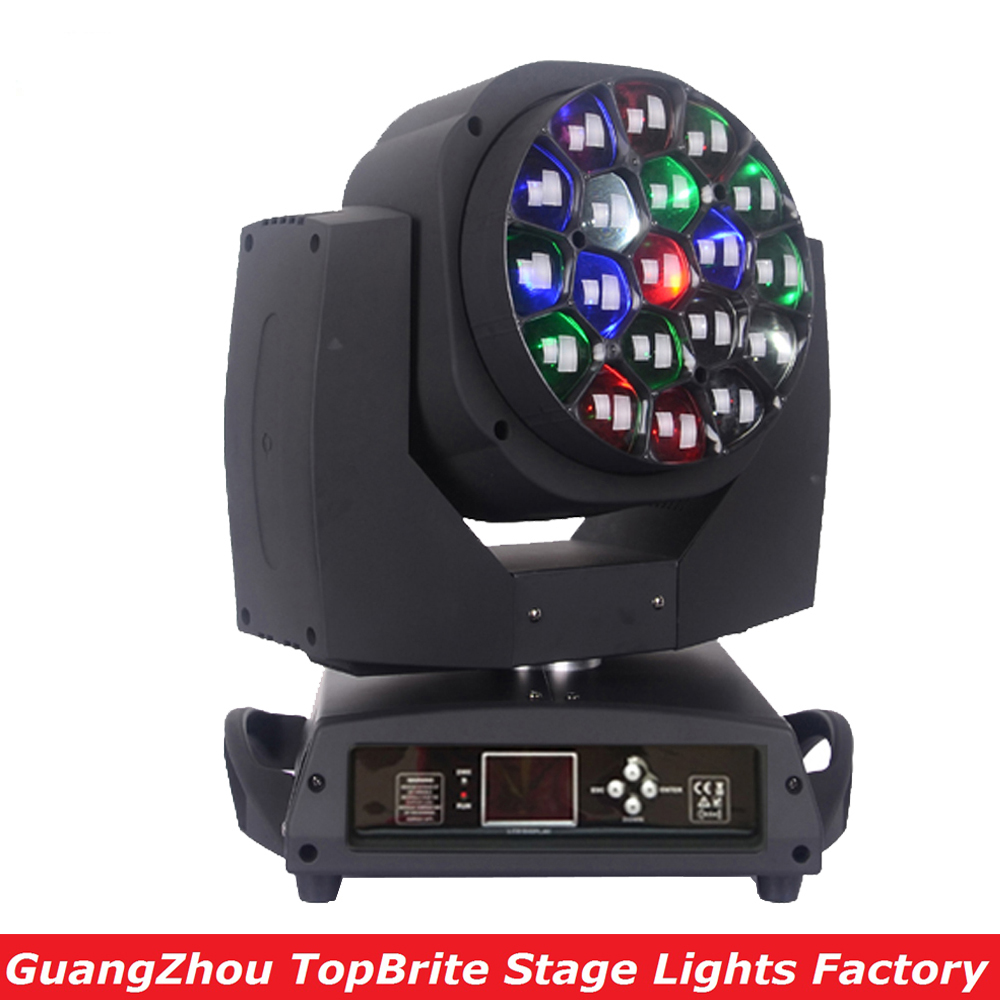 Free Shipping 19*15W 4IN1 RGBW LED Bee Eye Moving Head Beam+Wash Light , LED Moving Head Beam Light For Stage Disco Laser Light 19 12w high power led rgbw wash light 16 channels ac90 240v moving head light professional stage
