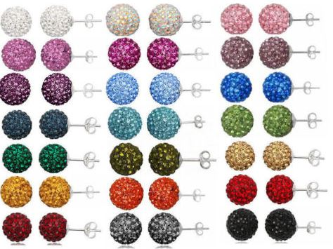 30pair/lot 10mm micro disco ball mixed white multicolor stainless steel Crystal Beads stud earrings silver plated op56|Stud Earrings| - AliExpress