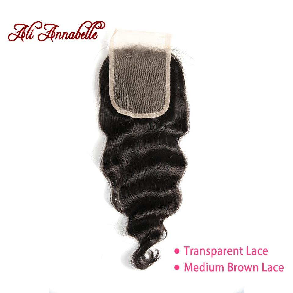 ALI ANNABELLE HAIR Brazilian loose Wave Lace Closure Transparent Lace Medium Brown Remy Human Hair Closure