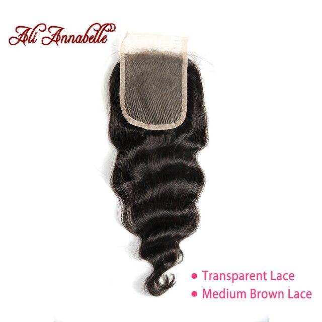 "ALI ANNABELLE HAIR Brazilian loose Wave Lace Closure Transparent Lace Medium Brown Remy Human Hair Closure Swiss Lace  10"" 20"""
