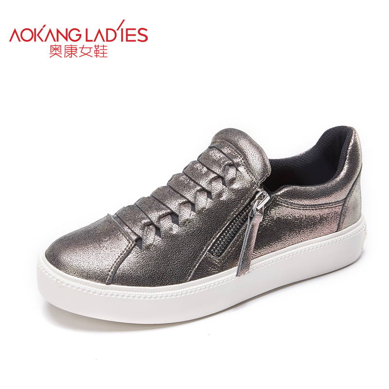 Aokang 2017 Women shoes sheepskin leather loafers with zip slip on female shoes solid round toe casual shoes wholesale