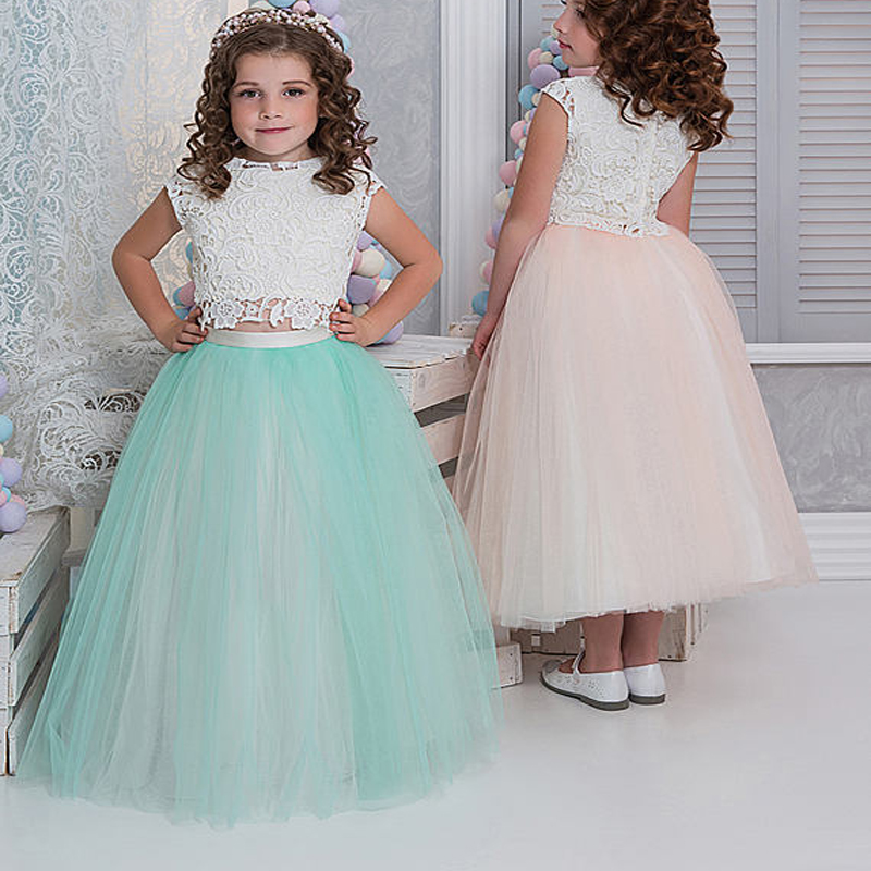 купить Sleeveless Flower Girls Dresses For Wedding Tulle Princess Dress Pageant Lace Girl Communion Dresses Mother Daughter Dresses дешево