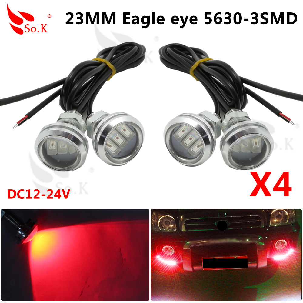 Eagle Fog Light Wiring Diagram Schematic Electronic Drl Lights 4pcslot New Car Styling 23mm 5630 3 Led Eye Daytime Runing Warning