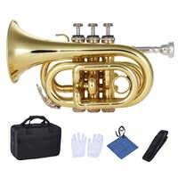 Mini trompeta de bolsillo Bb instrumento de viento de latón plano con guantes de boquilla paño de limpieza funda de transporte