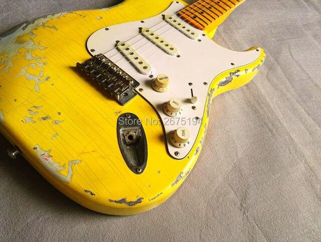Kostenloser versand. Vintage gelb nut e gitarre griffbrett, griff ...