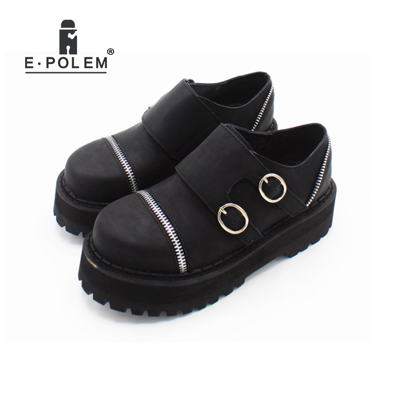 Fashion Round Toe Velco Buckle Thick Sole Platform Shoes Women Spring Autumn Harajuku Retro Low Upper Zipper Martin Boot Shoes