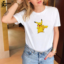 Lei SAGLY Kawaii Pikachu Print T Shirt Women Summer Short Sleeve White Casual Tshirt