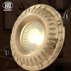 Europejski styl luksusowe czysta miedź 5 W 7 W 9 W Downlight COB lampa sufitowa rocznika reflektor LED oświetlenie wewnętrzne w Reflektory od Lampy i oświetlenie na