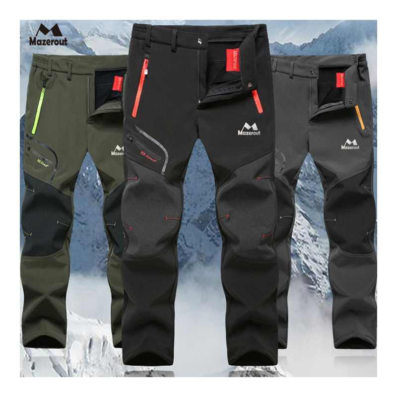 42d24b03fb MAZEROUT Man Winter Fishing Waterproof Camping Trekking Fleece Outdoor Hiking  Pants Climbing skiing Softshell Trouser Travel