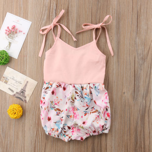 Newborn Infant Baby Girls Kids Sleeveless Floral Prints Jumpsuit   Romper   Sunsuit Pink Ties Halter Summer Cute Clothes Baby 0-24M