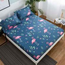 Flamingos Printed Mattress Pad Cover Bed Elastic Dust Mite Mattress Cover Protector Machine Washable Breathable Double Bed 45