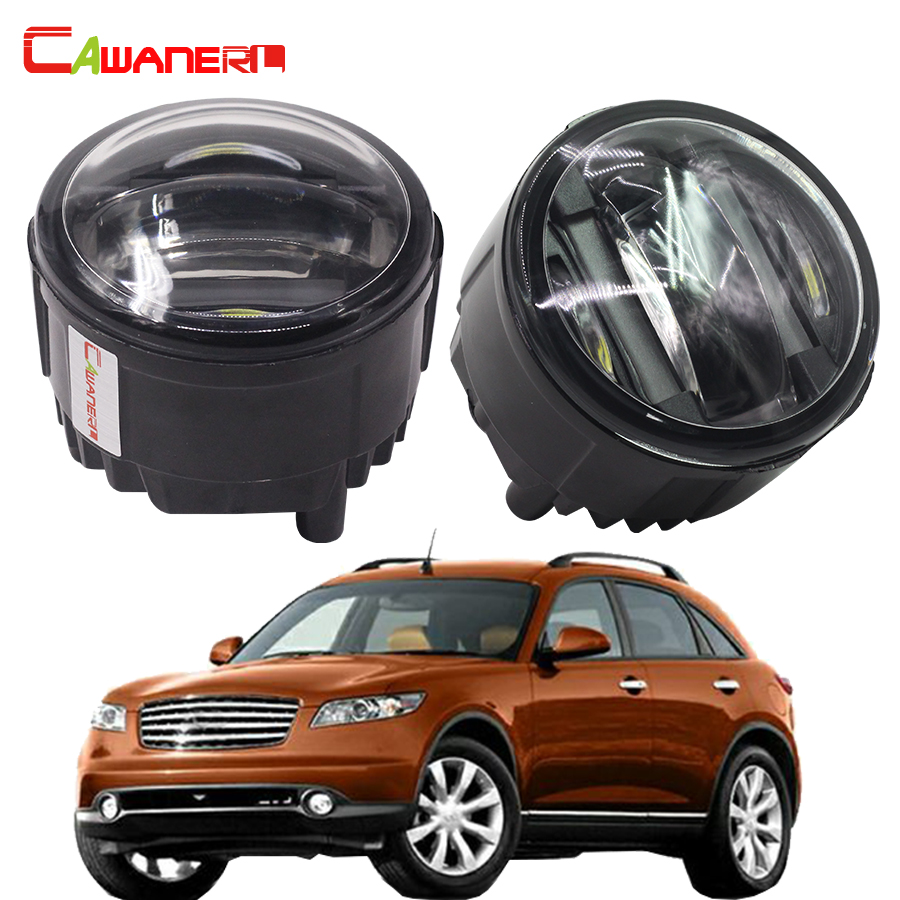 Cawanerl 1 Pair Car LED Left + Right Fog Light Daytime Running Lamp DRL 12V Styling For Infiniti FX 37 50 30d 2008 Onwards cawanerl 1 pair car light led fog lamp drl daytime running light white 12v for subaru trezia hatchback 1 3 1 4d 2011 onwards