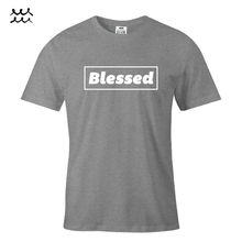 BLESSED CHRISTIAN PRINT T SHIRT JESUS CHRIST GRAPHIC SHIRTS GOD DESIGN TEE GIFT  Free shipping Tops
