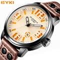 OVERFLY EYKI Men's Designer Watches Quality Waterproof Leather Belt 2016 New Fashion Quartz Men Sports Watches