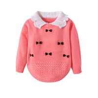 Cotton Girls Sweaters Solid Long Sleeve Clothes Knit Pullover Outerwear With Bows Warm Children Top Autumn