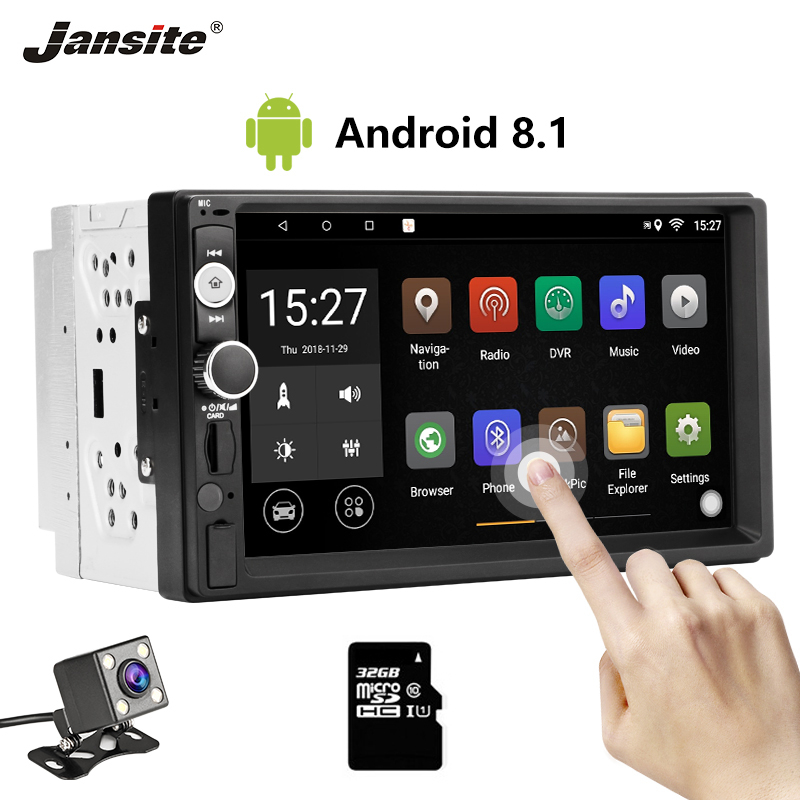 Jansite 7 2 din Car Radio Android 8.1 player + Digital Touch screen GPS Navigation Bluetooth mirror Autoradio With Backup camer
