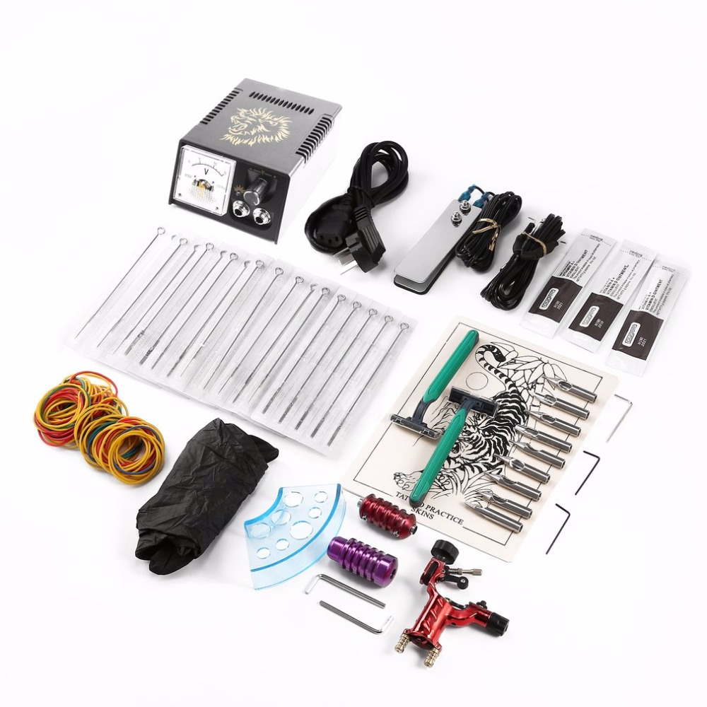 Complete Equipment One Tattoo Machine Professional Tattoo Machine Set Power Supply Tattoo Needles Body Makeup Beginner Kit New p80 panasonic super high cost complete air cutter torches torch head body straigh machine arc starting 12foot