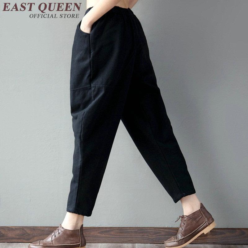 New autumn baggy pants women solid linen trousers women hip hop patchwork harem pants elastic waist pencil trouses KK1035 HQ 6