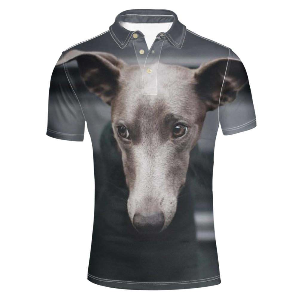 FORUDESIGNS Dark Grey Italian Greyhound Polo Shirt Animal Clothes 2018 Summer Style Printing Plus Size Men Man Male Slim Homme