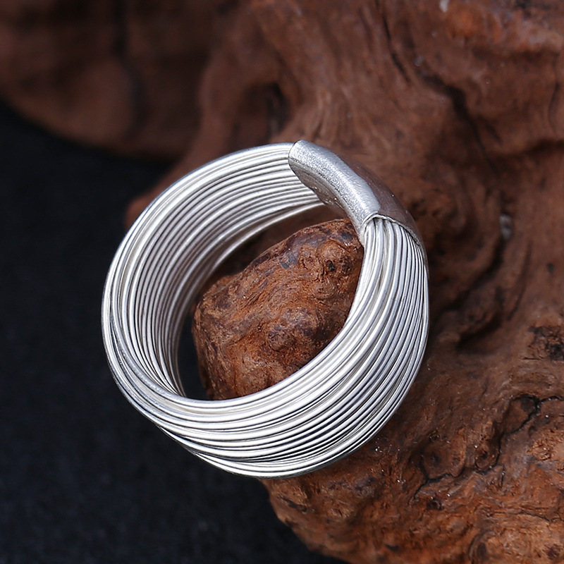 925 sterling silver many laps silver line rings handmade multiturn line constitute fine rings for women sterling 925 jewelry
