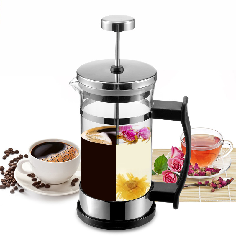 Hotel Cafe Coffee Makers French Pot Stainless Steel Coffee Pot Household French Tea Maker Coffee Filter Pot Glass Filter Cup duck style stainless steel tea leaf infuser filter tool w stand silver