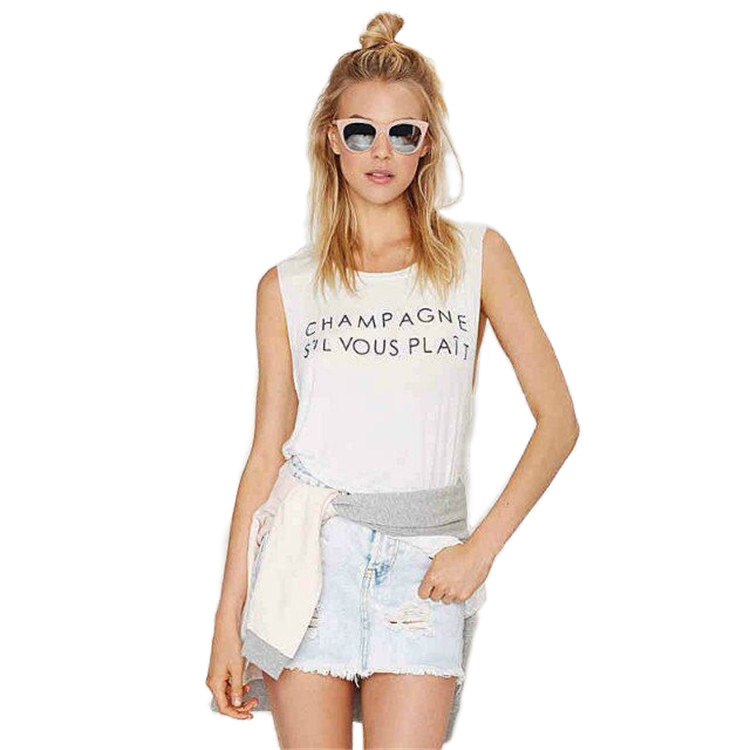Quick sell-off a 2019 new vest female alphabet print loose casual sleeveless top T-shirt