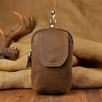 Retro Waist Packs Genuine Leather Men Fanny Pack Belt Bags Phone Pouch Bags Travel Waist Pack