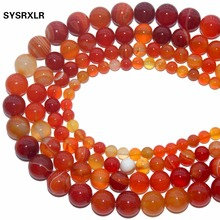 Wholesale Natural Orange Red Agat Natural Stone Round Beads For Jewelry Making DIY Bracelet Necklace 4 6 8 10 12 MM Strand 15''