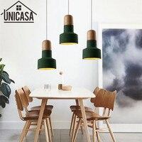 Vintage Green Ceiling Lamp Industrial Hotel Pendant Light Cement Shade Wooden Bulb Holder Mini Lighting Bar Antique Mini Pendant