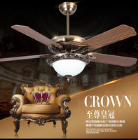 42inch Ceiling fan light living room dining room European antique vintage LED fan light lamp ceiling fan with remote control