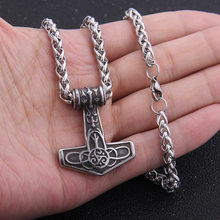 Dropshiping 316 Stainless steel nordic viking thor's hammer Celtic knot Odin raven pendant necklace for man gift(China)