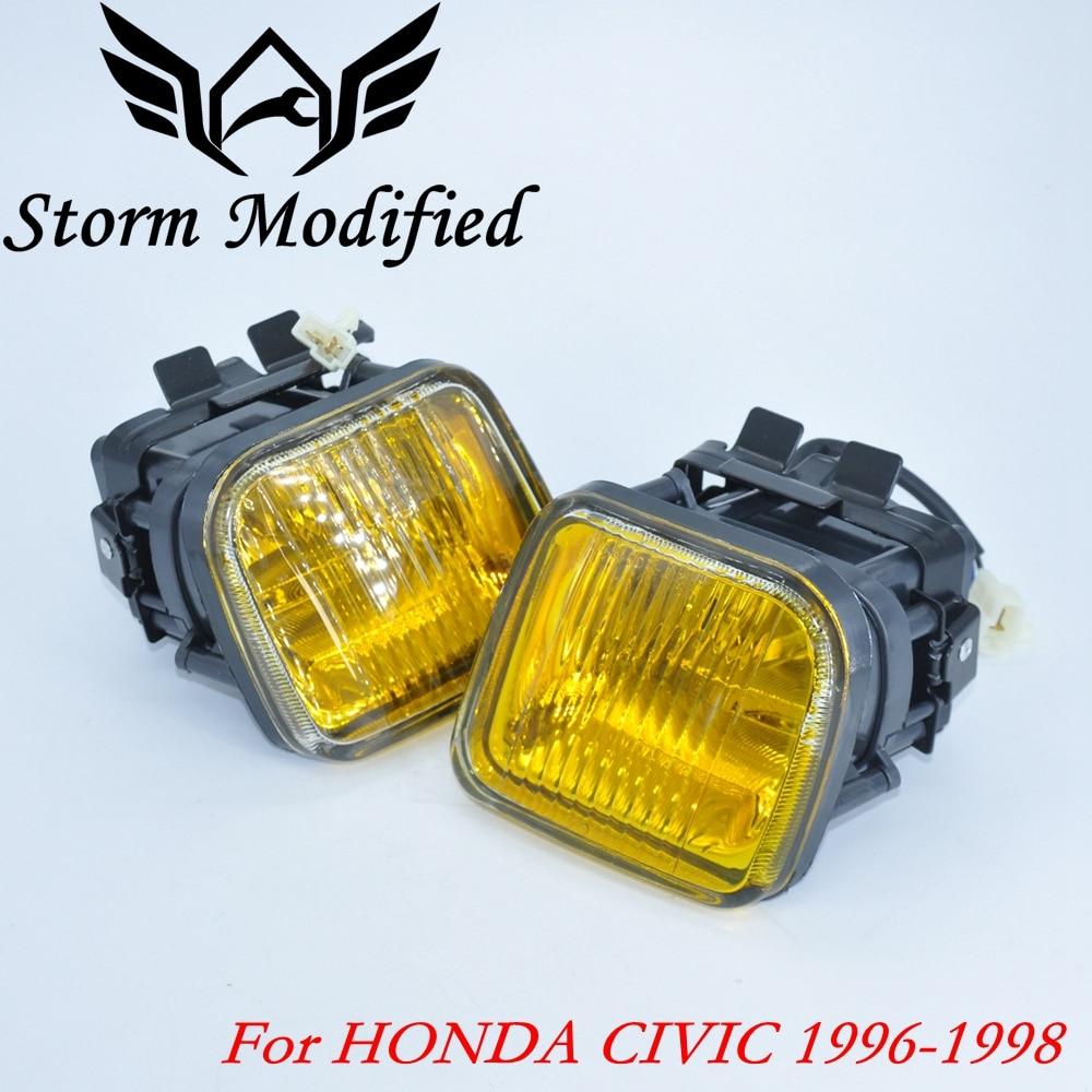 Nova luz de nevoeiro amarela/fumaça da lâmpada de nevoeiro para honda civic 96-98 2/3/4dr condução da lâmpada luz de nevoeiro + swith