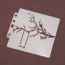Swinging on Branch Sticker Painting Stencils for Diy Scrapbooking Stamps Home Decor Paper Card Template Decoration Album Crafts merry christmas trees sticker painting stencils for diy scrapbooking stamps home decor paper card template decoration album